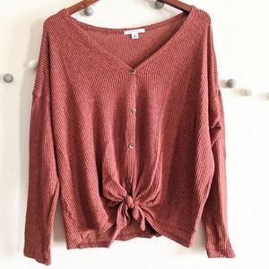 American eagle burnt Orange thermal long sleeve